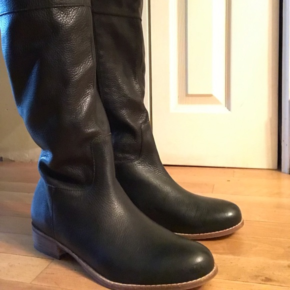 Lands End Black Tall Leather Boots